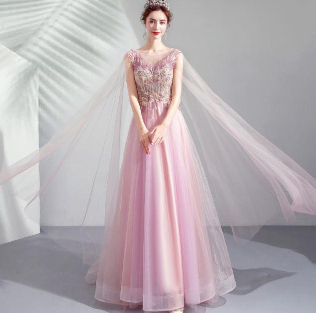 ชุดราตรียาว ชุดออกงาน ชุดไปงานแต่งระบายยาว สีชมพู
