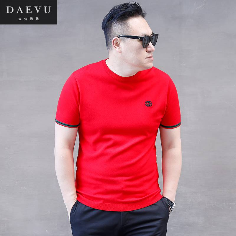 ขนาด:2XL 3XL 4XL 5XL สี:แดง เสื้อคนอ้วน เสื้อผ้าผู้ชาย ขนาดใหญ่ เสื้อยืด แขนสั้น
