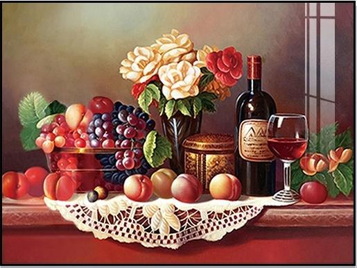 Red wine & fruits (พิมพ์ลาย)