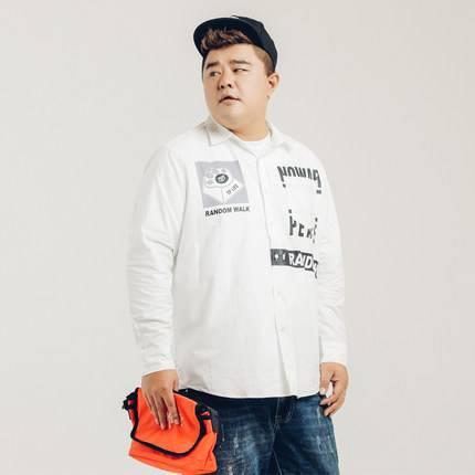 ขนาด:XL 2XL 3XL 4XL 5XL สี:ขาว เสื้อคนอ้วน เสื้อผ้าผู้ชาย ขนาดใหญ่ เสื้อเชิ้ต แขนยาว