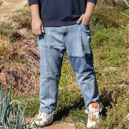 ขนาด:36 38 40 42 44 46 48 สี:ฟ้า กางเกงคนอ้วน กางเกงผู้ชาย ขนาดใหญ่ กางเกงยีนส์ ขายาว