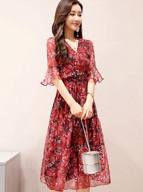 พรีออเดอร์ เดรสยาว เดรสลายดอกไม้ แขนสามส่วน สีสดใส เดรสแฟชั่นชุดทำงาน สี เทา แดง