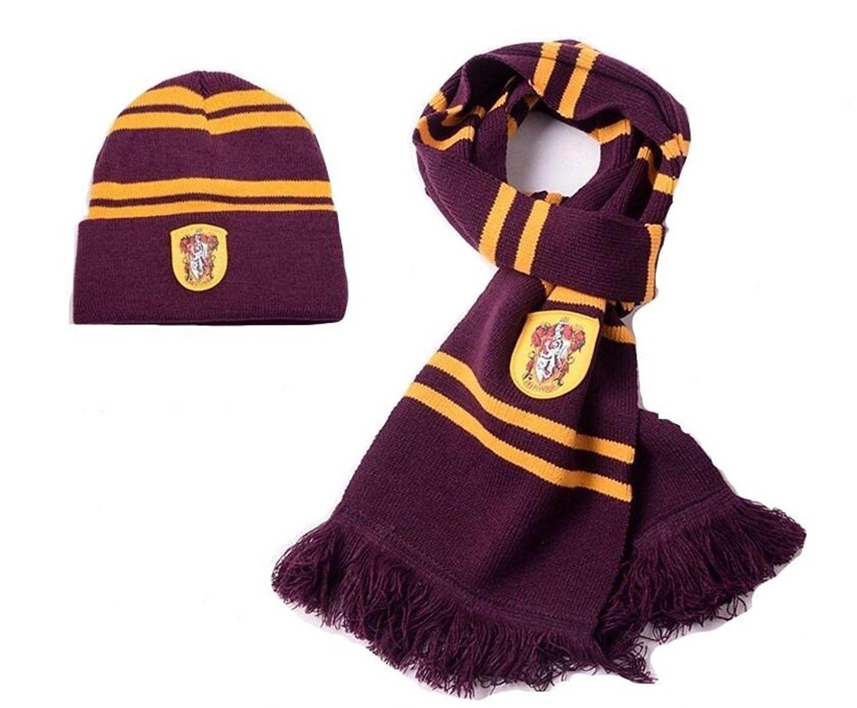 ++พร้อมส่ง++เซ็ทผ้าพันคอ+หมวกแฮร์รี่ พอตเตอร์  หมวกแฮรี่พอตเตอร์  บ้านกริฟฟินดอร์