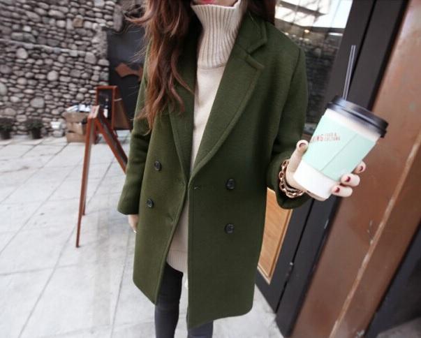 (พร้อมส่งสีเขียว) เสื้อโค๊ทกันหนาวผู้หญิง เสื้อคลุมกันหนาว เสื้อโค๊ทแฟชั่น เสื้อโค๊ทผ้าวูล