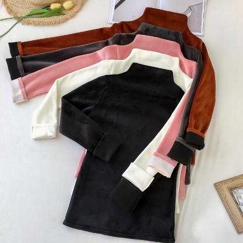 (พร้อมส่งสีดำ) เสื้อแขนยาวคอเต่า เสื้อคอเต่าผ้ากำมะหยี่ เสื้อลองจอนกันหนาวคอเต่า