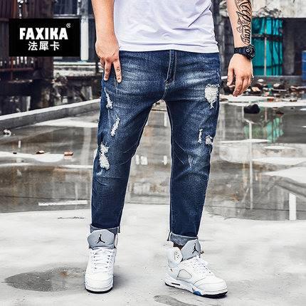 ขนาด:XL 2XL 3XL 4XL 5XL 6XL สี:น้ำเงิน กางเกงคนอ้วน กางเกงผู้ชาย ขนาดใหญ่ กางเกงยีนส์ ขายาว