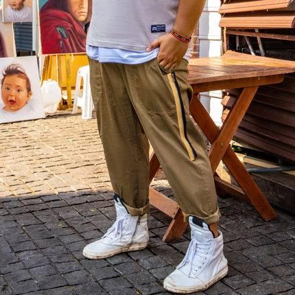 ขนาด:36 38 40 42 44 46 48 สี:กากี กางเกงคนอ้วน กางเกงผู้ชาย ขนาดใหญ่ กางเกงขายาว