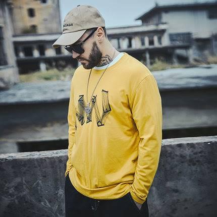 ขนาด:XL 2XL 3XL 4XL 5XL 6XL สี:เหลือง เสื้อคนอ้วน เสื้อผ้าผู้ชาย ขนาดใหญ่ เสื้อยืด แขนยาว