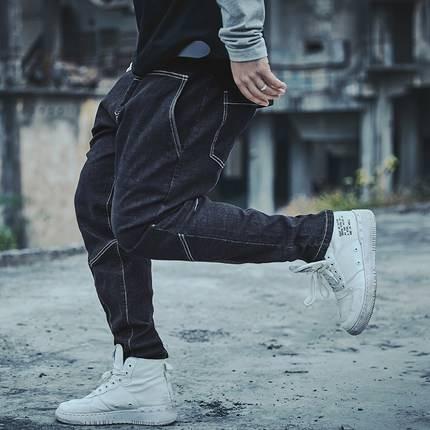 ขนาด:34 36 38 40 42 44 46 48 สี:น้ำเงิน กางเกงคนอ้วน กางเกงผู้ชาย ขนาดใหญ่ กางเกงยีนส์ ขายาว