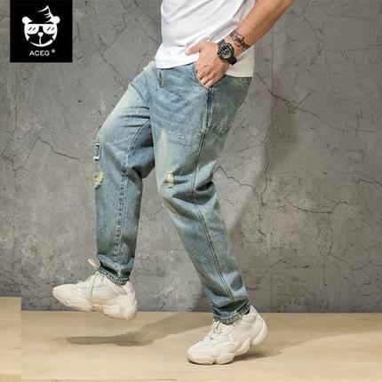 ขนาด:2XL 3XL 4XL 5XL 6XL สี:ฟ้า กางเกงคนอ้วน กางเกงผู้ชาย ขนาดใหญ่ กางเกงยีนส์ ขายาว