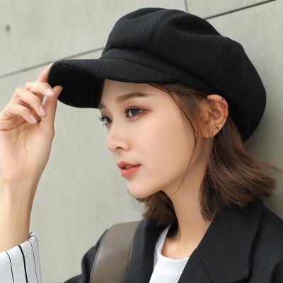 (พร้อมส่งสีดำ) หมวกแฟชั่นผู้หญิง หมวกทรงหมวกแก็ป หมวกกันหนาว หมวกแฟชั่นเกาหลี