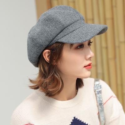(พร้อมส่งสีเทา) หมวกแฟชั่นผู้หญิง หมวกทรงหมวกแก็ป  หมวกกันหนาว หมวกแฟชั่นเกาหลี