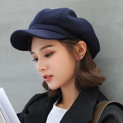 (พร้อมส่งสีกรมท่า) หมวกแฟชั่นผู้หญิง หมวกทรงหมวกแก็ป หมวกกันหนาว หมวกแฟชั่นเกาหลี