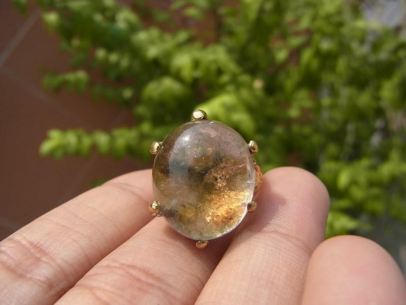 แหวนทองแก้วปวก 3 สี ทอง เขียว ส้ม