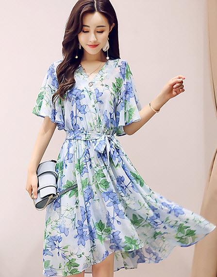 พรีออเดอร์ เดรสสั้น ลายดอก เดรสเกาหลีสวย ๆ มีสายผูกเอว ผ้าชีฟอง สี ฟ้า ส้ม