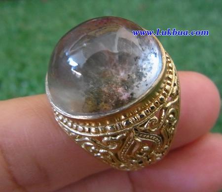 แหวนทองเหลืองลายฉลุ แก้วโป่งข่าม เบอร์ 60