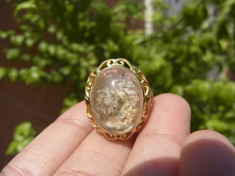 แหวนทองแก้วปวก 3 สี เขียว ขาว ทอง