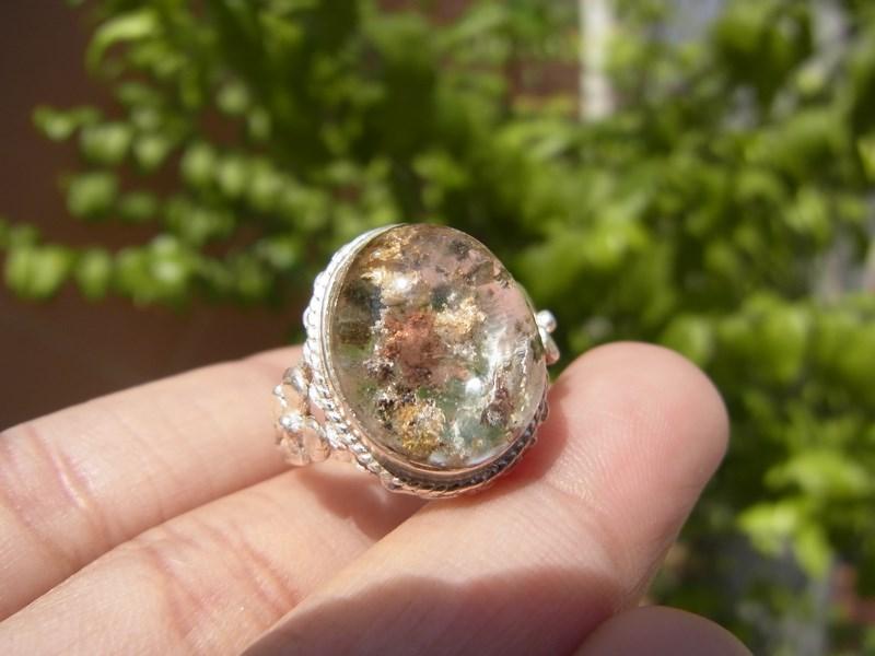 แหวนเงินหญิงแก้วปวก เขียว ทอง น้ำตาล