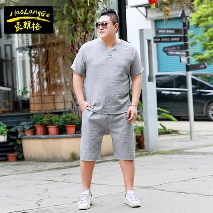 ขนาด:2XL 3XL 4XL 5XL 6XL 7XL สี:เทา/น้ำเงิน/เขียว เสื้อคนอ้วน เสื้อผ้าผู้ชาย ขนาดใหญ่ ชุดเสื้อยืด กางเกงขาสั้น