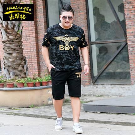 ขนาด:2XL 3XL 4XL 5XL 6XL 7XL สี:ดำ เสื้อคนอ้วน เสื้อผ้าผู้ชาย ขนาดใหญ่ ชุดเสื้อยืด กางเกงขาสั้น