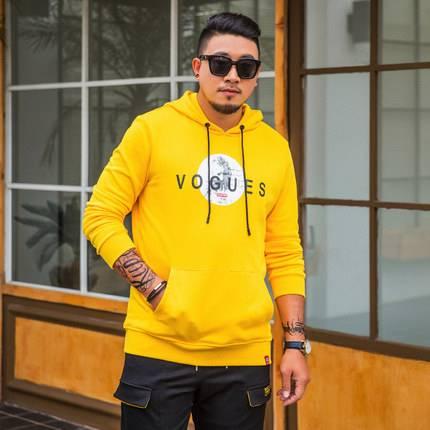 ขนาด:XL 2XL 3XL 4XL 5XL 6XL 7XL สี:ดำ/เหลือง เสื้อคนอ้วน เสื้อผ้าผู้ชาย ขนาดใหญ่ เสื้อกันหนาวมีฮู้ด