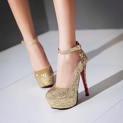 พร้อมส่ง - รองเท้าส้นสูงสีทอง ไซส์ 43