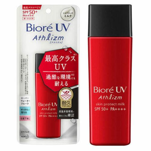 Biore UV Athlizm Skin Protect Milk Sunscreen SPF50+ PA++++ 65ml.(แบบขวด) ครีมกันแดดแบบน้ำนมเพื่ิผิวหน้าและผิวกายเกลียง่าย