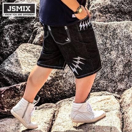 ขนาด:36 38 40 42 44 46 48 สี:ดำ กางเกงคนอ้วน กางเกงผู้ชาย ขนาดใหญ่ กางเกงยีนส์ ขาสั้น