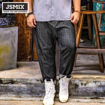 ขนาด:36 38 40 42 44 46 48 สี:ดำ กางเกงคนอ้วน กางเกงผู้ชาย ขนาดใหญ่ กางเกงยีนส์ ขายาว