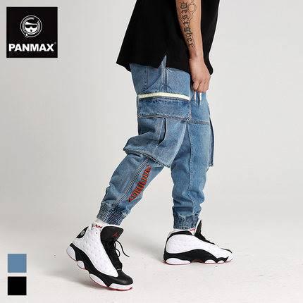ขนาด:2XL 3XL 4XL 5XL 6XL สี:น้ำเงิน/ดำ กางเกงคนอ้วน กางเกงผู้ชาย ขนาดใหญ่ กางเกงยีนส์ ขายาว