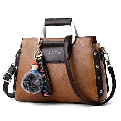 กระเป๋าหนังแฟชั่น กระเป๋าสะพายผู้หญิง กระเป๋าถือ กระเป๋าหนัง (พร้อมส่งสีน้ำตาล)