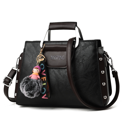 กระเป๋าหนังแฟชั่น กระเป๋าสะพายผู้หญิง กระเป๋าถือ กระเป๋าหนัง (พร้อมส่งสีดำ)