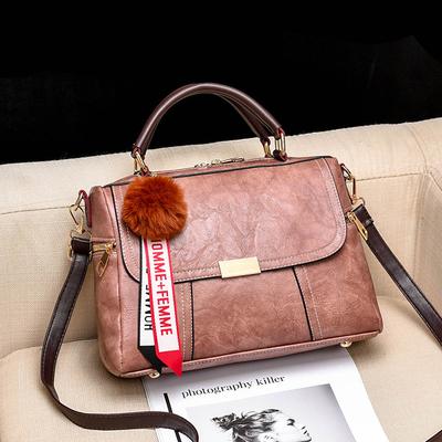 กระเป๋าหนังแฟชั่น กระเป๋าสะพายผู้หญิง กระเป๋าถือ กระเป๋าหนัง (พร้อมส่งสีชมพูกะปิ)