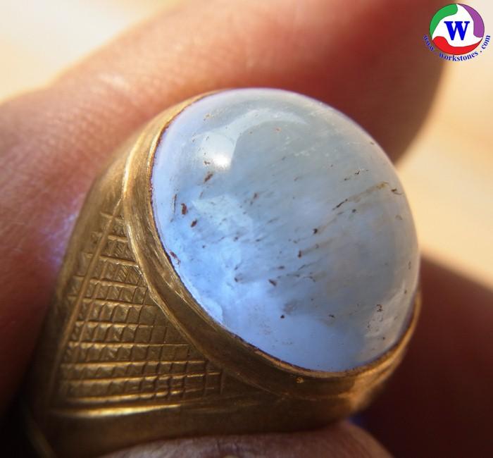 แหวนทองเหลือง เบอร์ 62 ครึ่ง แก้วโป่งข่ามชนิดแก้วฟ้าแรฝนจากเมืองเถิน ลำปาง