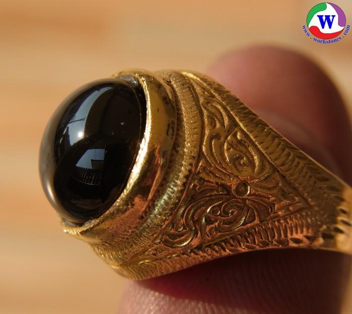 แหวนทองเหลือง เบอร์ 54 ไหลดำ สกุลเหล็กไหล เนื้อแรซิลิก้าเก่าอายุกว่า 100 ล้านปี