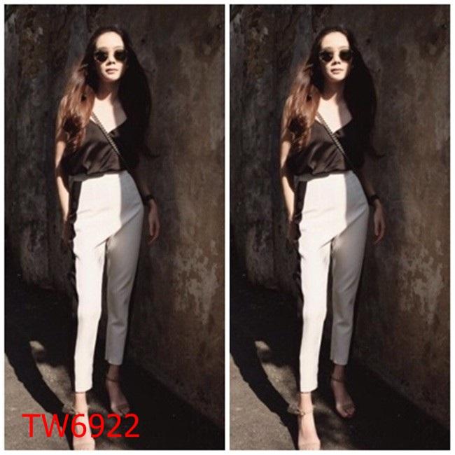 Set 2 ชิ้น เสื้อสายเดี่ยว ทรงคอป ผ้าโฟร์เวย์ + กางเกงขายาว  เอวสม้อค แถบข้างดำ