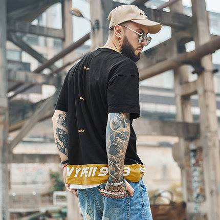 ขนาด:XL 2XL 3XL 4XL 5XL 6XL สี:ดำ เสื้อคนอ้วน เสื้อผ้าผู้ชาย ขนาดใหญ่ เสื้อยืด แขนสั้น