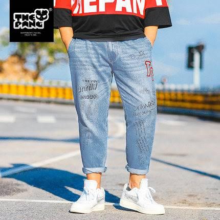 ขนาด:38 40 42 44 46 สี:น้ำเงิน กางเกงคนอ้วน กางเกงผู้ชาย ขนาดใหญ่ กางเกงยีนส์ ขายาว