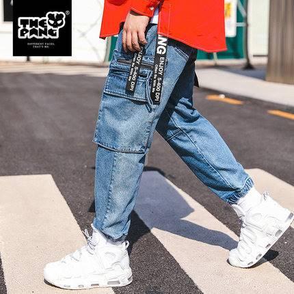 ขนาด:38 42 44 46 สี:น้ำเงิน กางเกงคนอ้วน กางเกงผู้ชาย ขนาดใหญ่ กางเกงยีนส์ ขายาว
