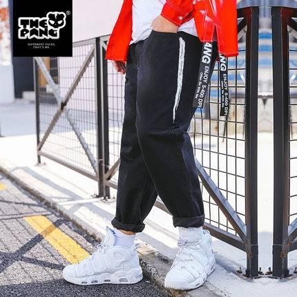 ขนาด:38 40 42 44 46 สี:ดำ กางเกงคนอ้วน กางเกงผู้ชาย ขนาดใหญ่ กางเกงยีนส์ ขายาว