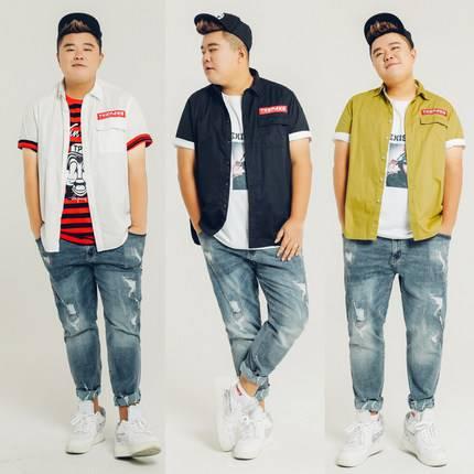 ขนาด:XL 2XL 3XL 4XL 5XL สี:ดำA/ขาวB/เขียวC เสื้อคนอ้วน เสื้อผ้าผู้ชาย ขนาดใหญ่ เสื้อเชิ้ต แขนสั้น