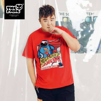 ขนาด:XL 2XL 3XL 4XL 5XL สี:แดง เสื้อคนอ้วน เสื้อผ้าผู้ชาย ขนาดใหญ่ เสื้อยืด แขนสั้น