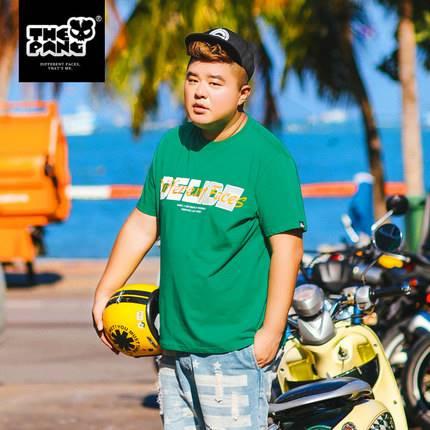 ขนาด:XL 2XL 3XL 4XL 5XL สี:เขียว เสื้อคนอ้วน เสื้อผ้าผู้ชาย ขนาดใหญ่ เสื้อยืด แขนสั้น