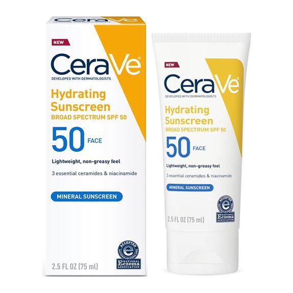 **พร้อมส่ง**Cerave Hydrating Sunscreen Face Lotion SPF 50(Mineral Sunscreen) 75 ml. โลชั่นกันแดดสำหรับผิวหน้าสำหรับผิวบอบบางแพ้ง่าย เพราะคัดสรรส่วนผสมที่มาจากธรรมชาติ(Mineral) ทั้งปกป้องและบำรุงในหลอดเดียว เนื้อบางเบา ไม่เหนียวเหนอะหนะ ไม่มันเงาสูตรป้องกั