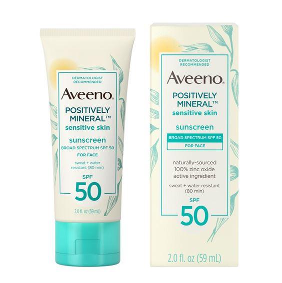 **พร้อมส่ง**Aveeno Positively MineralSensitive Skin Sunscreen SPF 50 for Face 59 ml. ครีมกันแดดสำหรับผิวบอบบางแพ้ง่าย ยี่ห้อที่คุณหมอที่อเมริกาแนะนำสำหรับผู้มีผิวบอบบาง กันเหงื่อกันน้ำ สามารถใช้ทาลงเล่นน้ำได้นานถึง 80 นาที เหมาะสำหรับทุกสภาพผิว