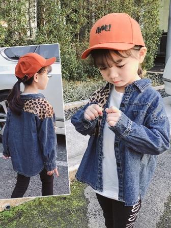 (พร้อมส่ง Size15) เสื้อแขนยาวเด็ก เสื้อยีนส์เด็ก เสื้อยีนส์แฟชั่นลายเสือ