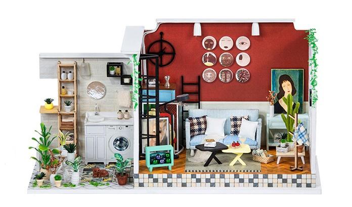 เปิดจอง>> DIYโมเดลห้องนั่งเล่น โมเดลจิ๋ว บ้านตุ๊กตา ชุดอุปกรณ์ครบเซ็ตในกล่อง