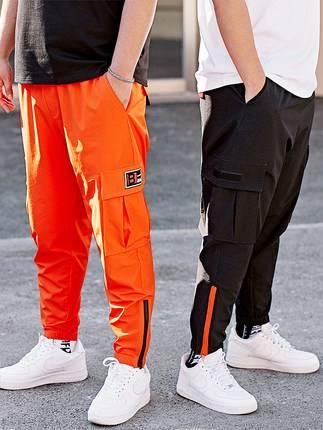 ขนาด:36 38 40 42 44 46 สี:ดำ/ส้ม กางเกงคนอ้วน กางเกงผู้ชาย ขนาดใหญ่ กางเกงขายาว