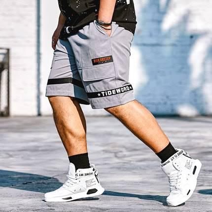 ขนาด:36 38 40 42 44 46 สี:เทา กางเกงคนอ้วน กางเกงผู้ชาย ขนาดใหญ่ กางเกงขาสั้น