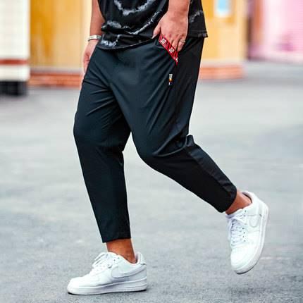 ขนาด:36 38 40 42 44 สี:ดำ กางเกงคนอ้วน กางเกงผู้ชาย ขนาดใหญ่ กางเกงขายาว
